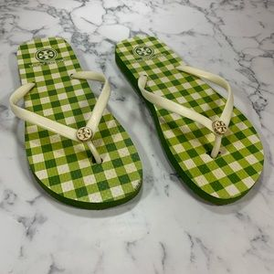 Tory Burch Green Checkered Flip Flops